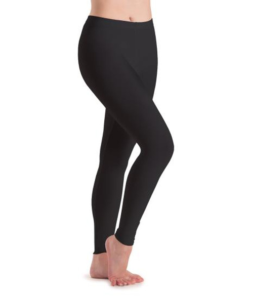 """Our classic, versatile Leggings are a Motionwear best seller! An elastic waistband and a conservative rise are flattering and provide the comfort you need to perform with confidence. Leg lines are straight to offer a snug fit and hug the ankles, so the leggings stay in place when you move. Available in several fashionable colors, you'll find several hues to incorporate into your dance outfits. Inseam measurements are  25 1/2"""" for Adult Medium"""