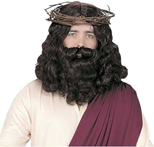 JESUS WIG AND BEARD GREY