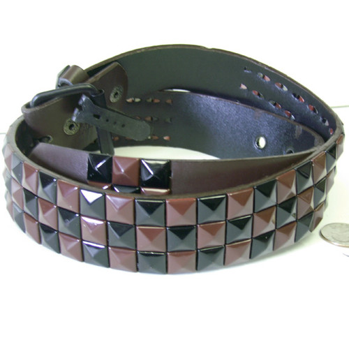 Black & Brown Checkered Studded Belt
