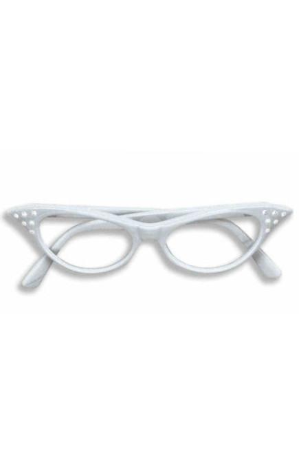 White Rhinestone 50's Glasses Clear Lenses