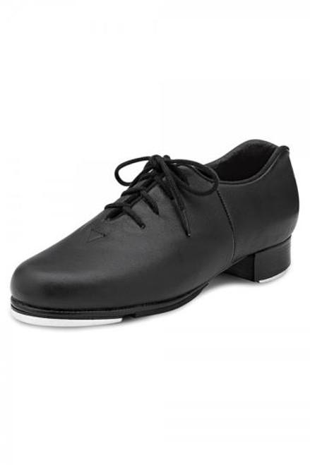 Oxford tap shoe with leather upper and full outsole jazz tap.  Features  Last designed to achieve perfect form with the upper, heel and tap plates Non-slip pro balance pad located behind tap plate Upper design shaped to relieve pressure on Achilles tendon Non-slip pro balance rubber pad Notched collar at the heel to relieve pressure on Achilles tendon Full Kashmir lining for comfort and reduced moisture Bloch's shockwave taps The taps are secured to a resonating board for a deeper sound Leather stacked heel Cushioned insole for comfort and shock absorption Fabric  Leather Sizing Information & Suggestions  Start with 1/2-1 size up from street shoe.