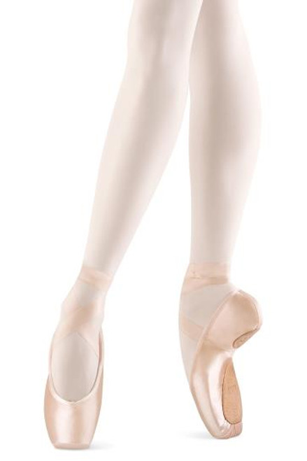 The Axi Stretch is one of Bloch's new and exciting range of pointe shoes featuring groundbreaking innovation in a category virtually unchanged in over 120 years. With the latest stretch materials, these features combine to allow ultimate articulation of the foot and unparallelled connection between foot and shoe. One seamless, flawless line is now a reality.  Features  Outer split sole for increased contact between arch of the shoe to arch of the foot Flexible insole with strong center piece supporting under the foot and to the highest point of the dancer's 3/4 arch Wings of the shoe wrap around the ball of the foot and feather out to dancer's 3/4 arch for ultimate support Jersey fabric on either side of the inner heel for ease of sewing Improved fit to the heel of the foot for less bagging of material and added suede for increased comfort Flat, oblong platform for ease of balance Improved satin tip for longer lasting platform A-paste for better resilience and natural breakdown Designed to break at the highest point of the dancer's arch, the Axi Stretch will hit all major internal contact points of the foot for the ultimate 90 degree angle. Notes  Ribbons and elastic sold separately