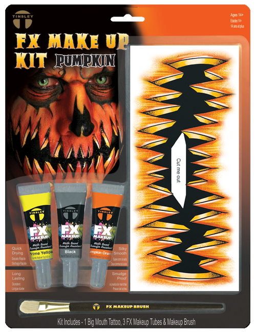 FX Transfers Latex Free Pumpkin makeup kit self adhesive transfers   This kit includes:  1 Big Mouth Tattoo 3 FX Makeup Colors 1 FX Makeup Brush This kit combines our temporary tattoo Big Mouth Tattoo FX with our new line of FX Makeup. Everything in this kit was designed for easy application with maximum results in character creation.