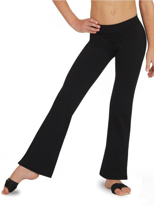 """Rising dancers will perform their best in our mid-rise Jazz Pant. Made of a nylon and spandex combination that is both soft and resilient. Legs are slighly flared to add moxie to your dancer's style. Easily translates from dancewear to active wear.  Product Features: Full length jazz pant 90% Nylon, 10% Spandex 1 1/2"""" straight waistband Inseam is graded up 1"""" per size starting from 31"""" through 35"""" Mid rise Flared leg Recommended care: Machine wash cold, delicate cycle and hang dry"""