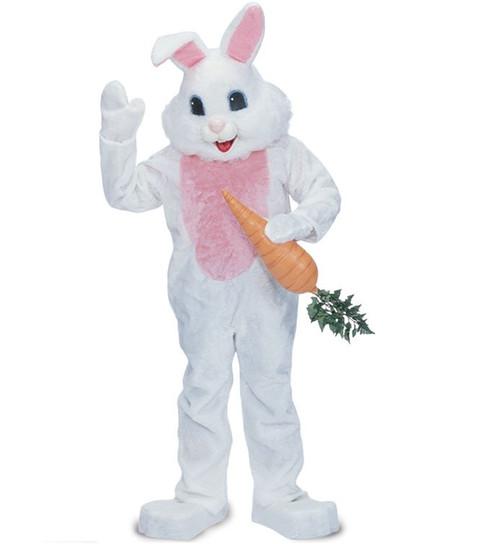 Rent: Big Head Blue Eye Easter Bunny Premium White Rabbit Mascot