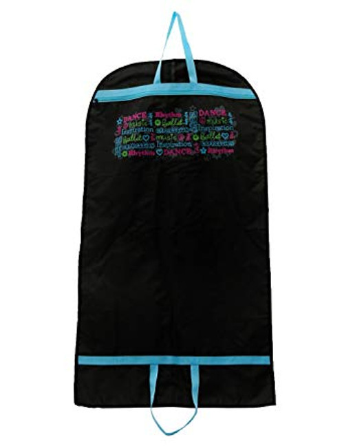 """Expression Garment Bag 4017 Screen print design features numerous dance-related words in a variety of font styles and colors. Full-length center zipper. Nylon web handles at top and bottom; carry full length or folded in half. Single layer, not lined. Medium, 44"""" x 24"""". Ultra-lightweight. Material: nylon."""