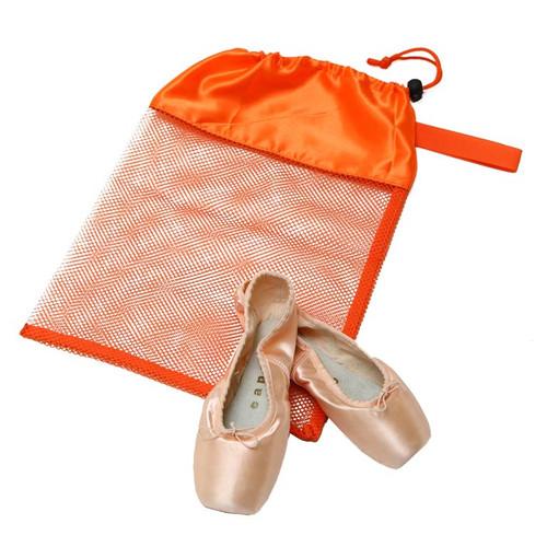 Orange Mesh Shoe Bag