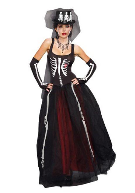 Ms Bones Skeleton Satin Evening Gown