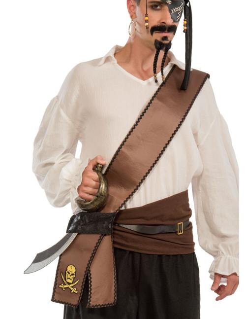 Buccaneer Sword Sash Distressed Brown with Gold Skull
