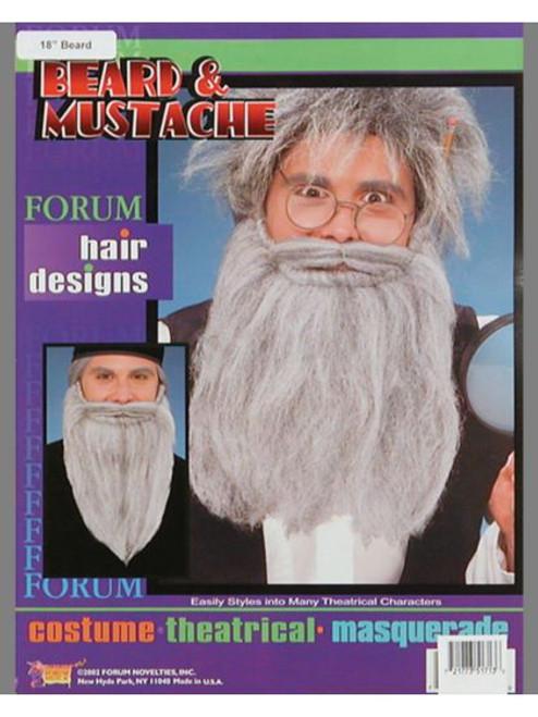 "Beard 14 "" Long & Mustache - Grey"