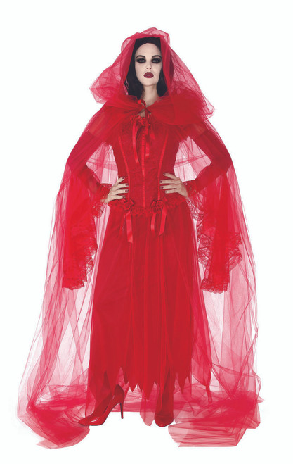 Cape Cursed Scarlet Sheer Cape with Hood 14+
