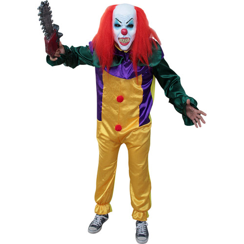 Killer Prank Clown Adult Costume and 3/4 Mask Pennywise's Cousin
