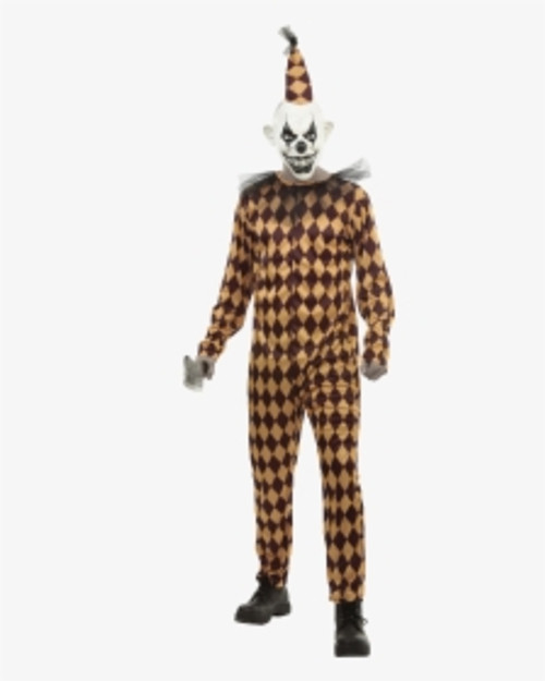 Prank Clown Adult Costume and 3/4 Mask