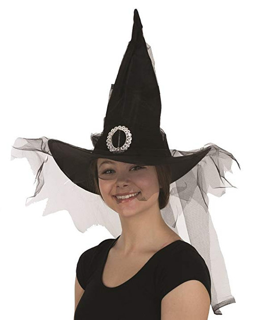 Black Witch Hat with Black Veil