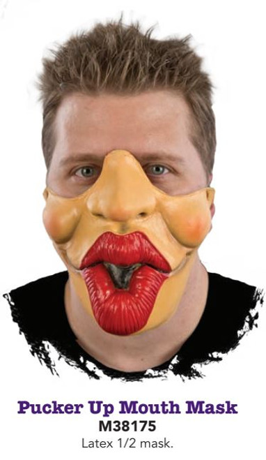 Pucker Up Mouth Mask with Black Elastic Strap to hold in place