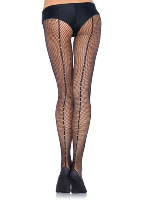 Professional rhinestone backseam fishnet tights with nylon/cotton comfort sole and no-roll comfort waist band.