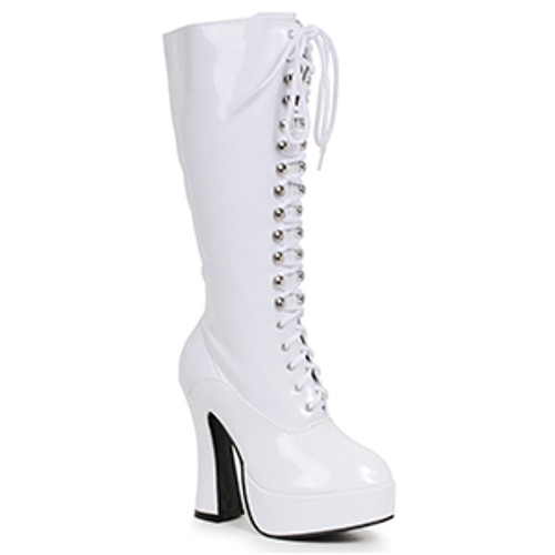 """White Knee High 5"""" Platform Lace Up Boot w/ Side Zipper"""