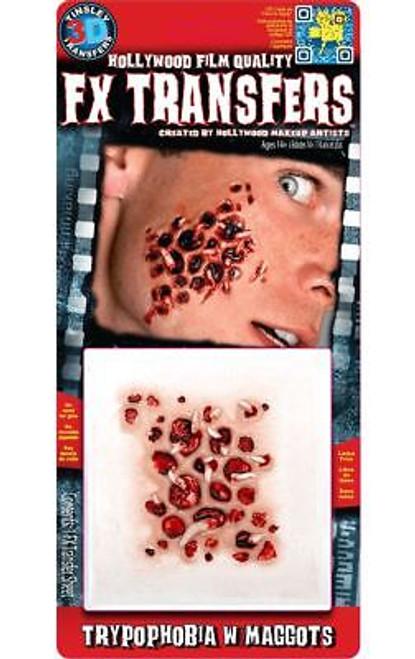 FX Transfers Latex Free Trpypophobe with Maggots Self Adhesive