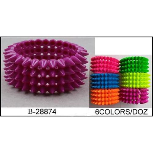 4 row Spike bracelet assorted neon colors