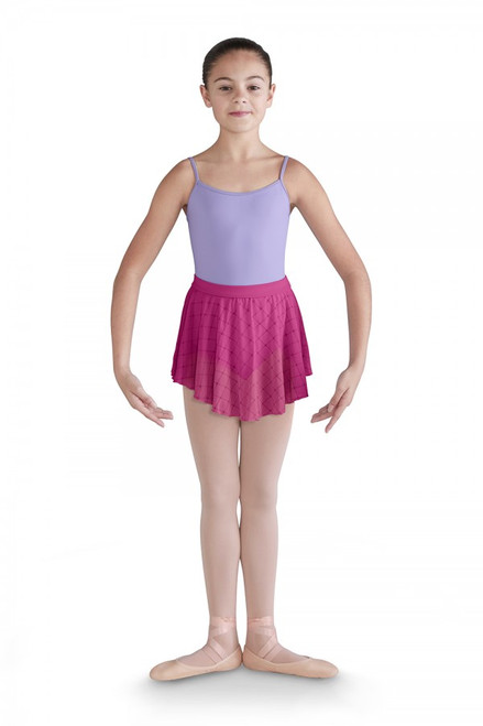 This pull on skirt can dress up any leotard. Featuring a soft spandex waistband that sits comfortably on the waist, attached soft diamond heart flocked mesh falls softly to the upper thigh.  Features  Pull on styling Soft spandex waistband Diamond heart flocked mesh Leotard sold separately Notes  Machine wash cold, lay flat to dry.