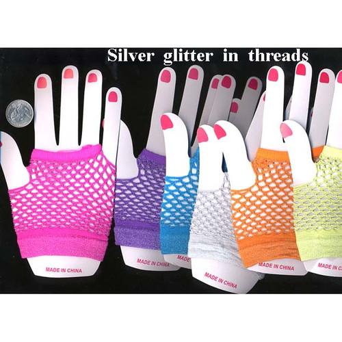 Wrist length Fishnet fingerless gloves assorted colors