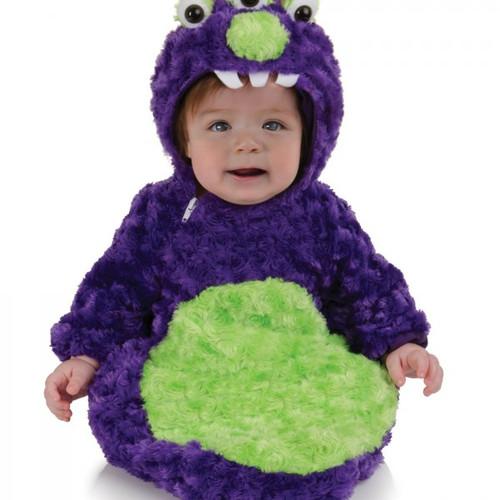 3 Eyed Monster Purple Fur Bunting with Hood
