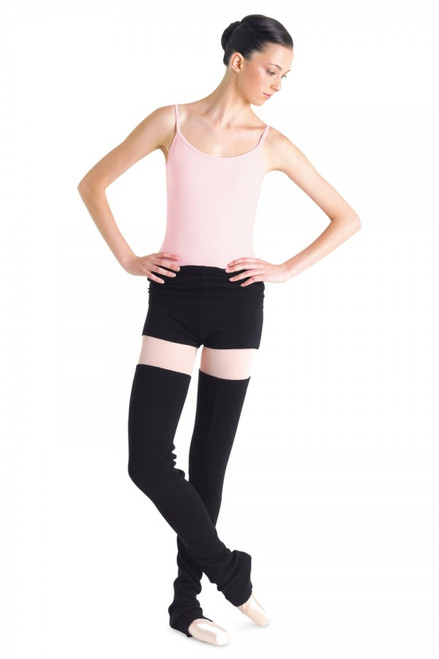 Short with ribbed waist. May be worn folded down over hips, or extended to warm lower back.  Fabric  Jersey and Rib - Rayon, Nylon, Spandex
