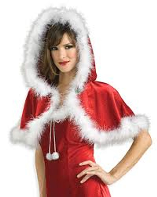 Hooded Capelet Red Velvet with Fur Trim