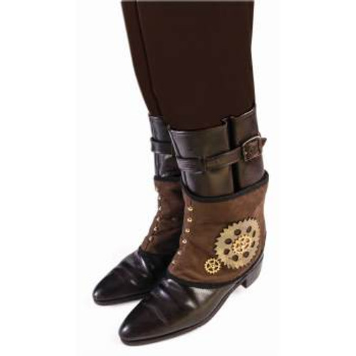 Steampunk Spats Brown with Black Lace Trim