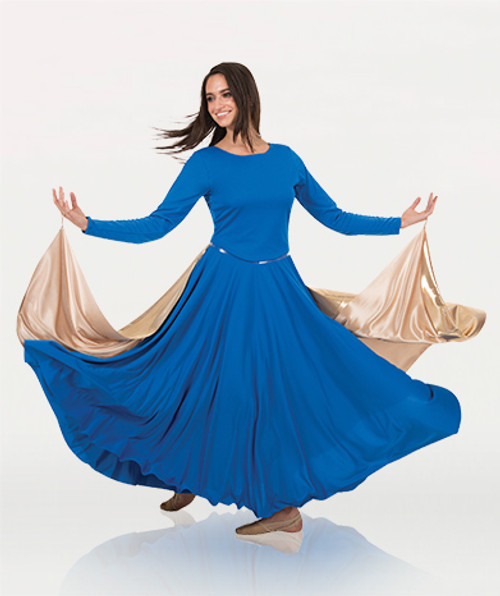 Body Wrappers Metallic Full Sweeping Open Front Half Skirt