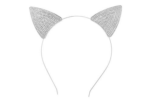 Rhinestoned Cat Ears Headband Silver