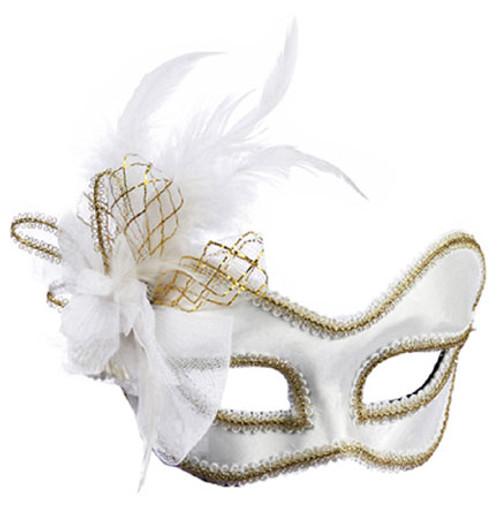 Venetian White Satin Feather mask mardi gras glasses style