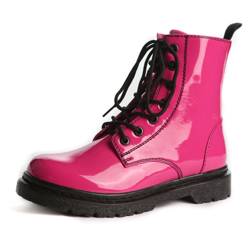 Reignite Kids Patent Leather Dance Boots w/ Non-Marking Soles