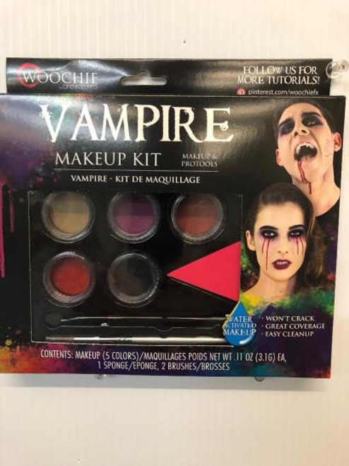 Vampire Makeup Kit Water activated 5 colors 1 sponge 2 brushes included