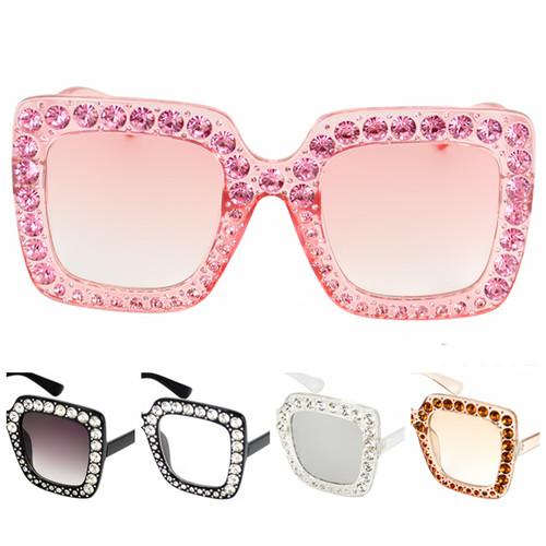 Sunglasses Rectangle Frames w/ Gems