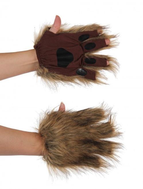 Fuzzy Fingerless Pawys -Squirrel Brown