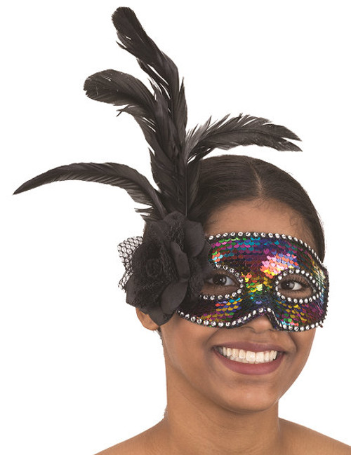Sequin Masquerade Mask w/ Black Rose & Feather