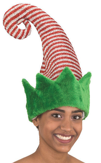 Beautiful Elf Hat - highlighting the candy cane striped hat - the Christmas Spirit.