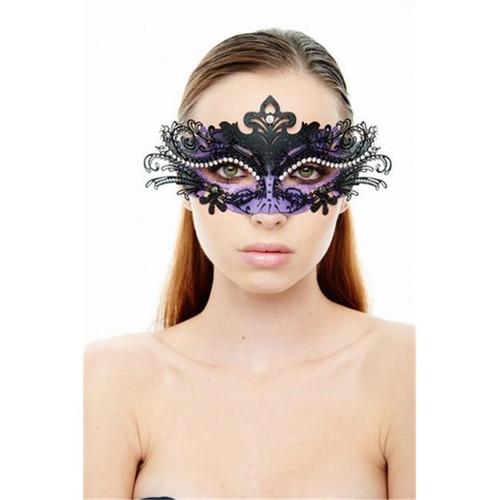 Venetian Eye Mask Black /Purple with Crystal