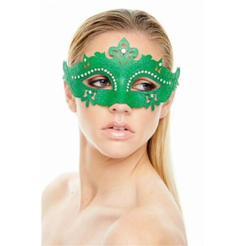Venetian Eye Mask Green with Crystals