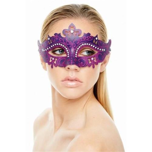 Venetian Eye Mask Purple with Crystals