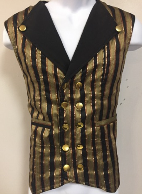 Double Breasted Vest Mens with Gold Buttons