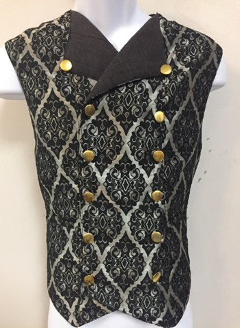 Double Breasted Brocade Vest Mens