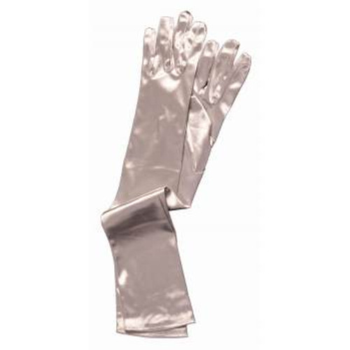 Long Satin Silver Gloves