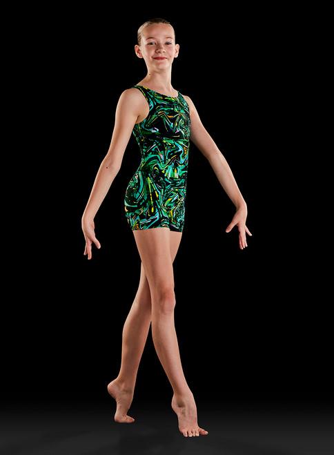 Bloch Pattern Girls Tank Gymnastics Biketard With Scrunchie