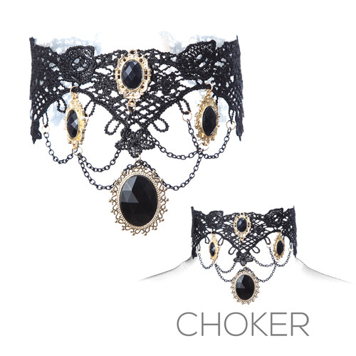 Victorian Lace Choker With Black Gens and Chain