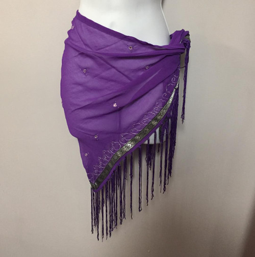 Triangle Scarf With Silver and Fringe