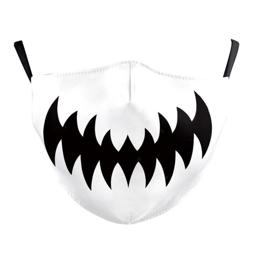 Face Mask White with Black Print Smile