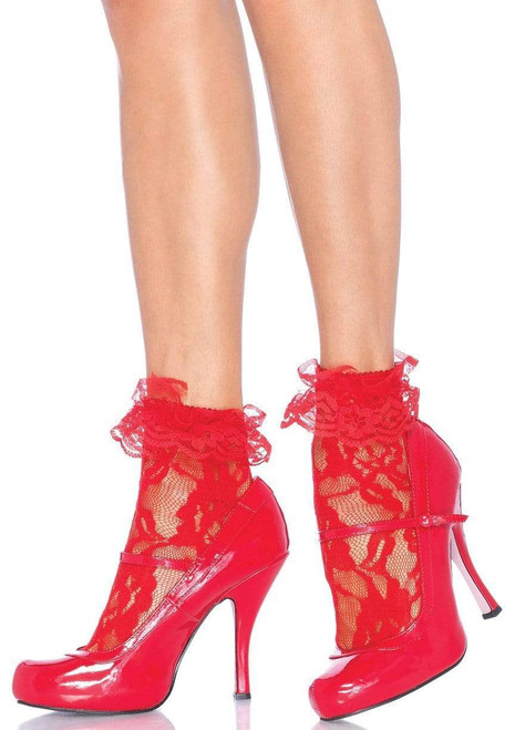 Lace Anklet with Ruffle Red