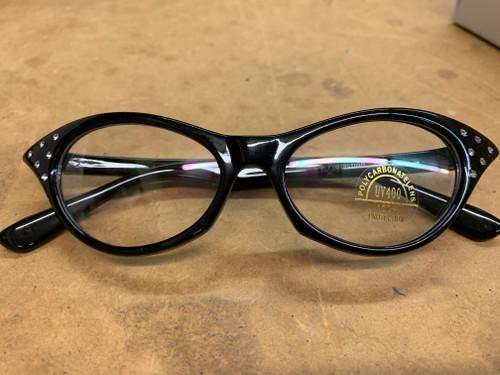 Black Rhinestone 50's Glasses Clear Lenses (SG6CLBK)